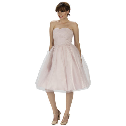 Pink Strapless Tulle Net Bridesmaids Dress
