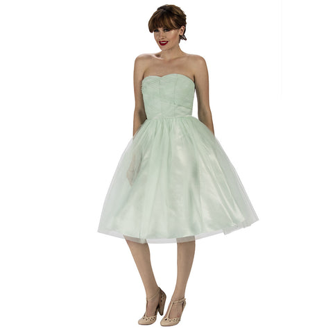 Mint Green Strapless Tulle Net Bridesmaids Dress - Pretty Kitty Fashion