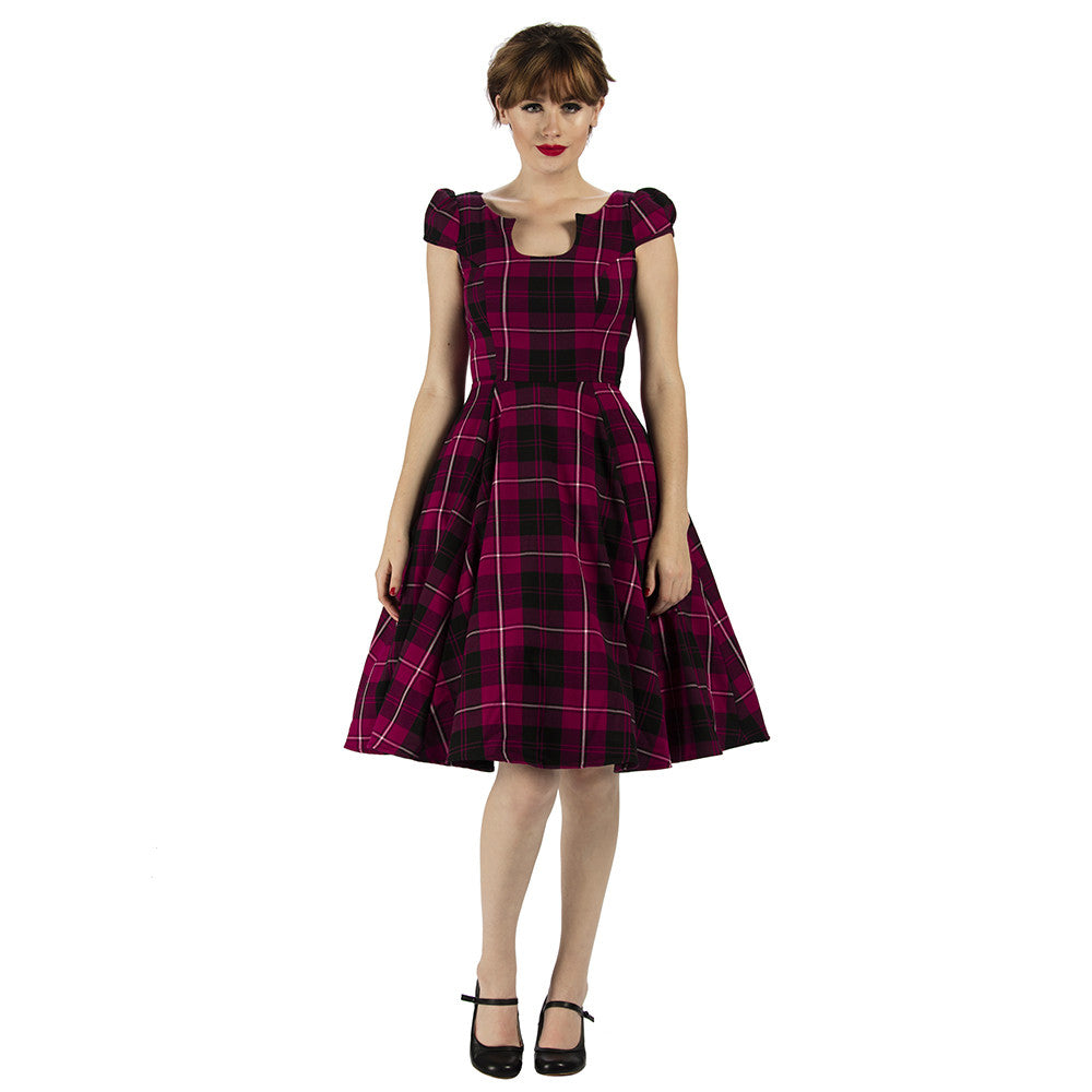 Purple Tartan Check Rockabilly Cocktail 50s Hogmanay Rockabilly ...