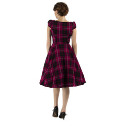 Purple Woven Tartan Swing Dress