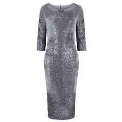 Silver Grey Velour Sequin Wiggle Dress