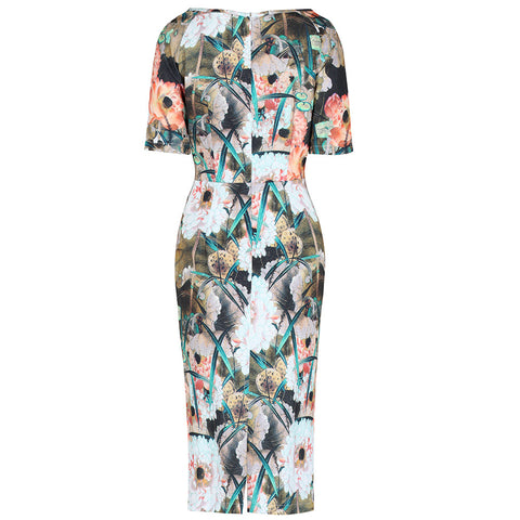 Autumn Floral 1/2 Sleeve Wiggle Pencil Dress - Pretty Kitty Fashion