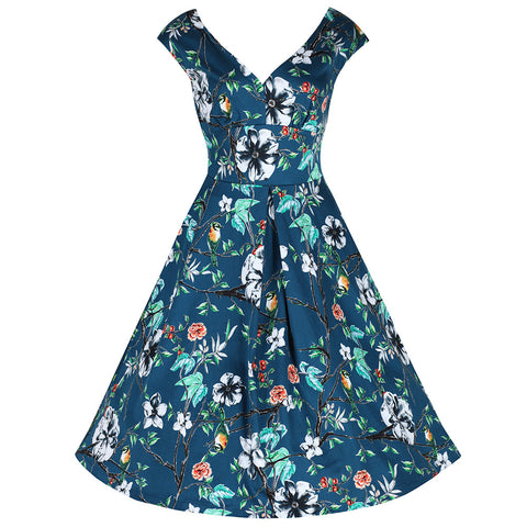 Teal Floral Bird Print 50s Swing Dress