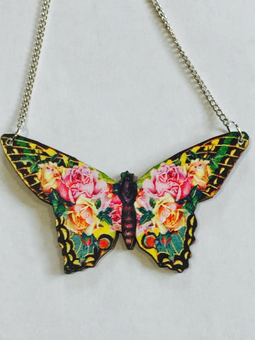 Pink Floral Butterfly Silver Necklace