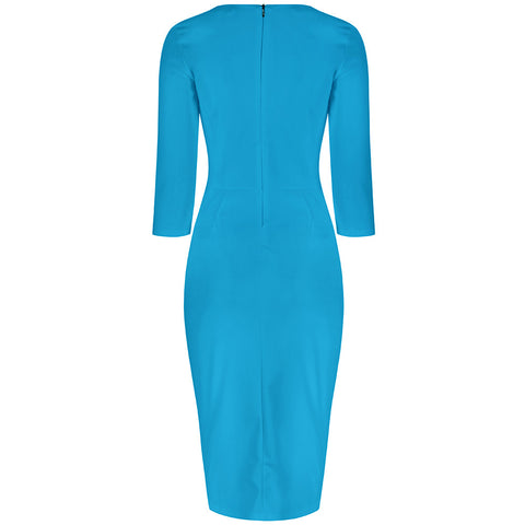 Turquoise Blue 3/4 Sleeve Bodycon Pencil Dress