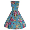 Turquoise Floral Audrey Swing Dress