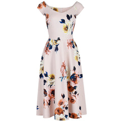 Pale Pink Floral Cap Sleeve Swing Dress
