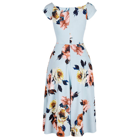 Pale Blue Floral Cap Sleeve Swing Dress