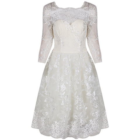 Chi Chi Cream White 3/4 Sleeve Baroque Wedding Tea Dress
