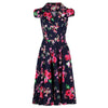 Classic Navy Blue and Floral Print Pin Up 50s Swing Tea Dress - Pretty Kitty Fashion