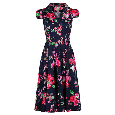Classic Navy Blue and Floral Print Pin Up 50s Swing Tea Dress