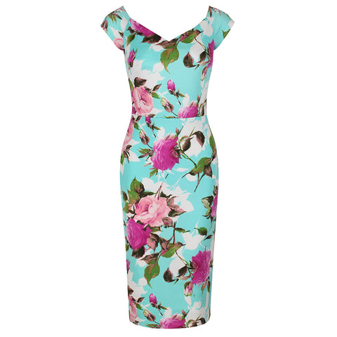 Pale Turquoise and Pink Floral Print Wiggle Pencil Dress