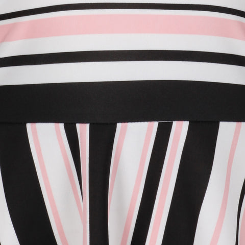 White, Black and Pink Striped Halterneck 50s Swing Dress