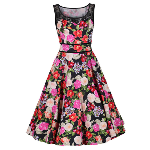 Black and Multi Colour Floral Print 50s Swing Audrey Dress