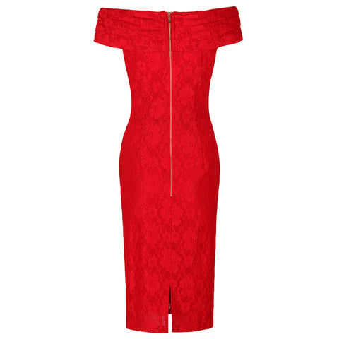 Red Lace Bardot Wiggle Pencil Dress