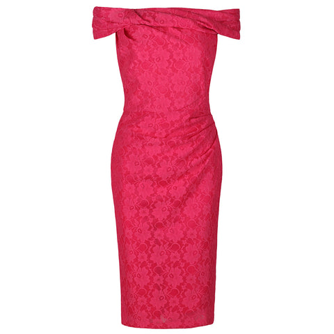 Cerise Pink Lace Bardot Wiggle Pencil Dress
