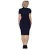 Navy Blue Puff Sleeve Tie Bodycon Pencil Dress - Pretty Kitty Fashion