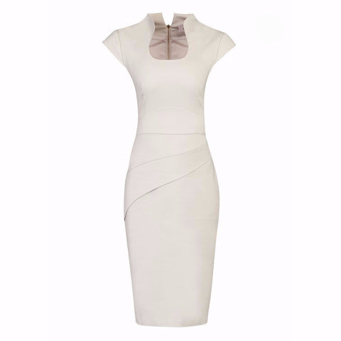 Cream / Light Beige High Collar Scoop Neck Ruched Pencil Dress