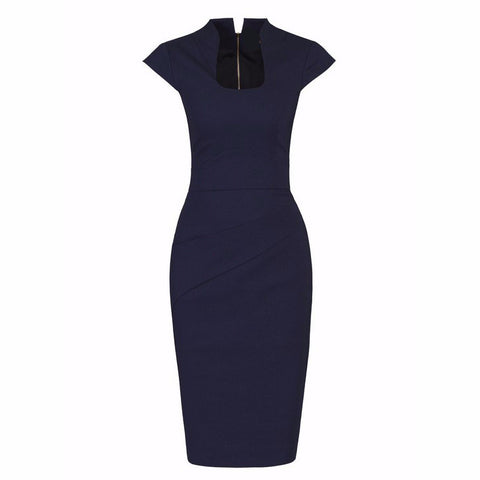 Navy Blue High Collar Scoop Neck Ruched Pencil Dress
