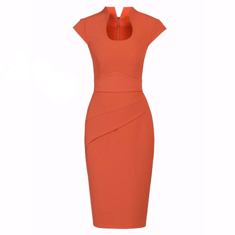 Burnt Orange High Collar Scoop Neck Ruched Pencil Dress