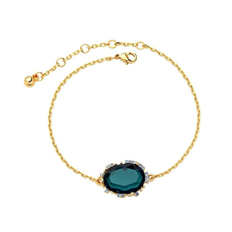 Elegant Fine Gold Chain Green Gem Bracelet - Pretty Kitty Fashion