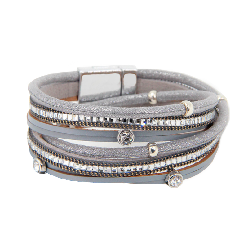 Multi Layer Crystal And Gem Grey Bracelet - Pretty Kitty Fashion