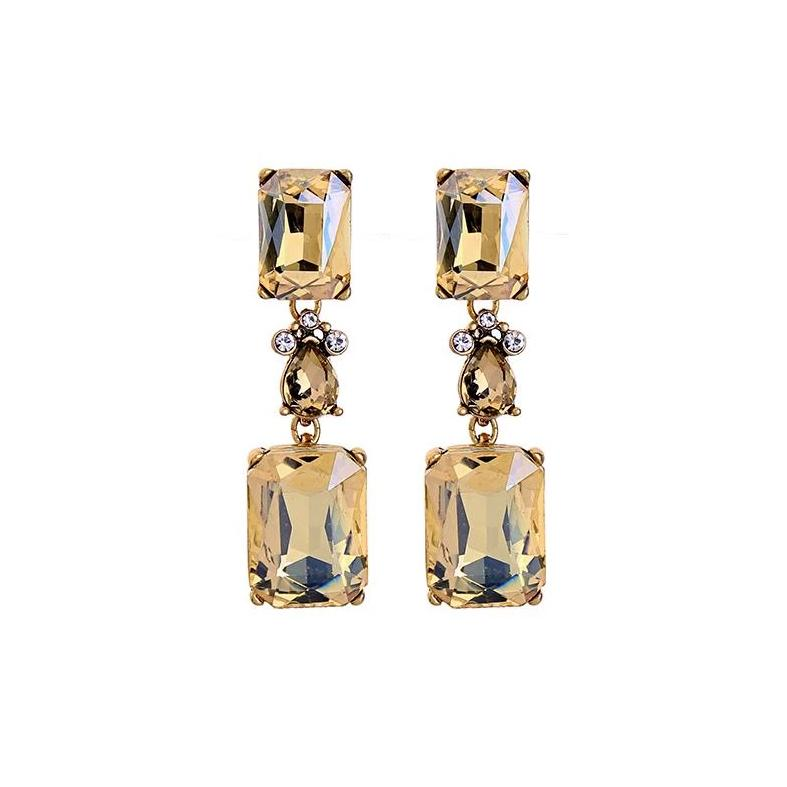 Vintage Style Amber And Gold Gem Drop Earrings - Pretty Kitty Fashion