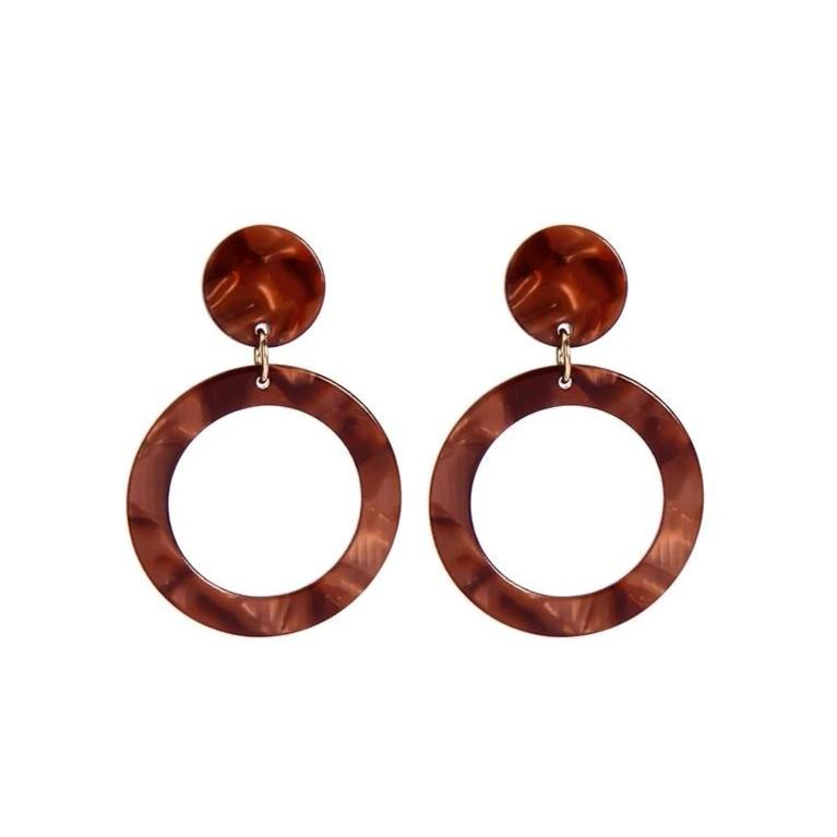 Twin Hoop Walnut Effect Earrings - Pretty Kitty Fashion