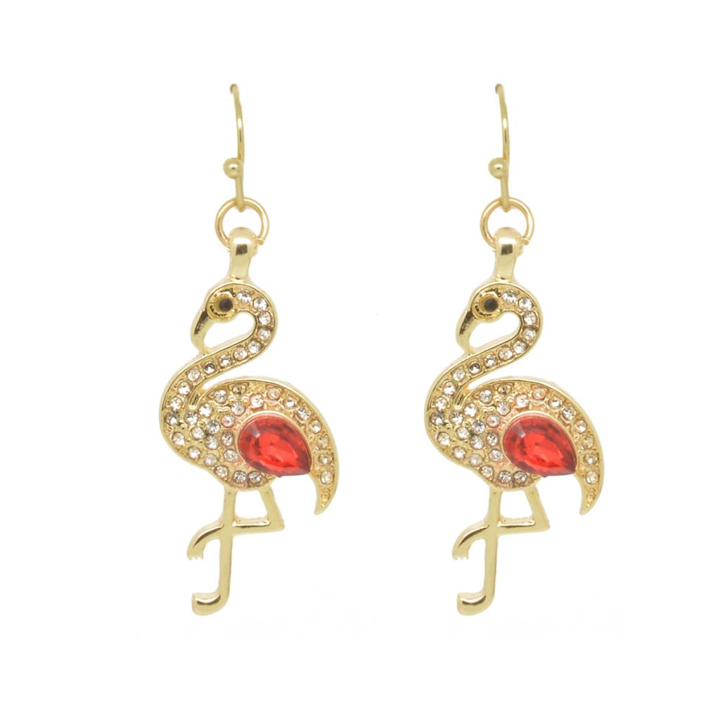 Crystal Red Crystal Flamingo Earrings - Pretty Kitty Fashion