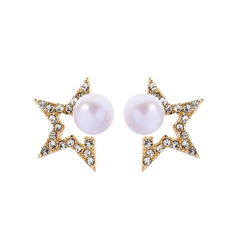 Crystal And Pearl Gold Star Earrings - Pretty Kitty Fashion