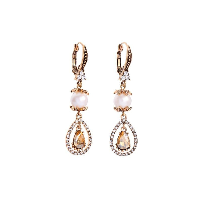 Vintage Crystal And Pearl Teardrop Earrings - Pretty Kitty Fashion