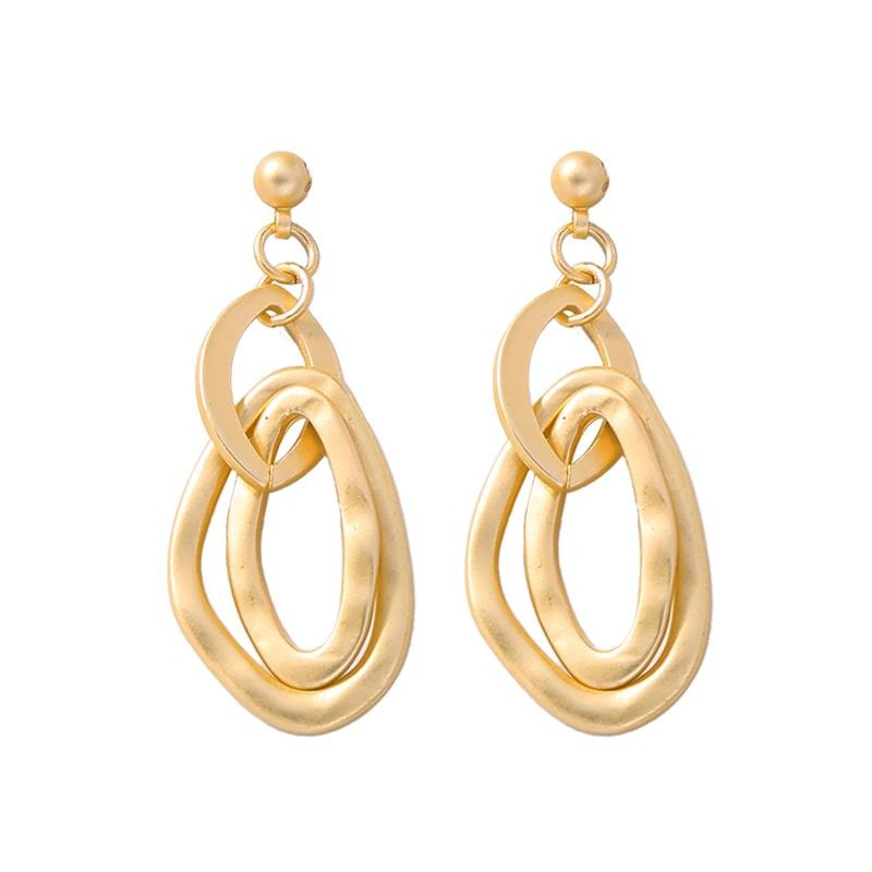Gold Oval Linked Earrings - Pretty Kitty Fashion