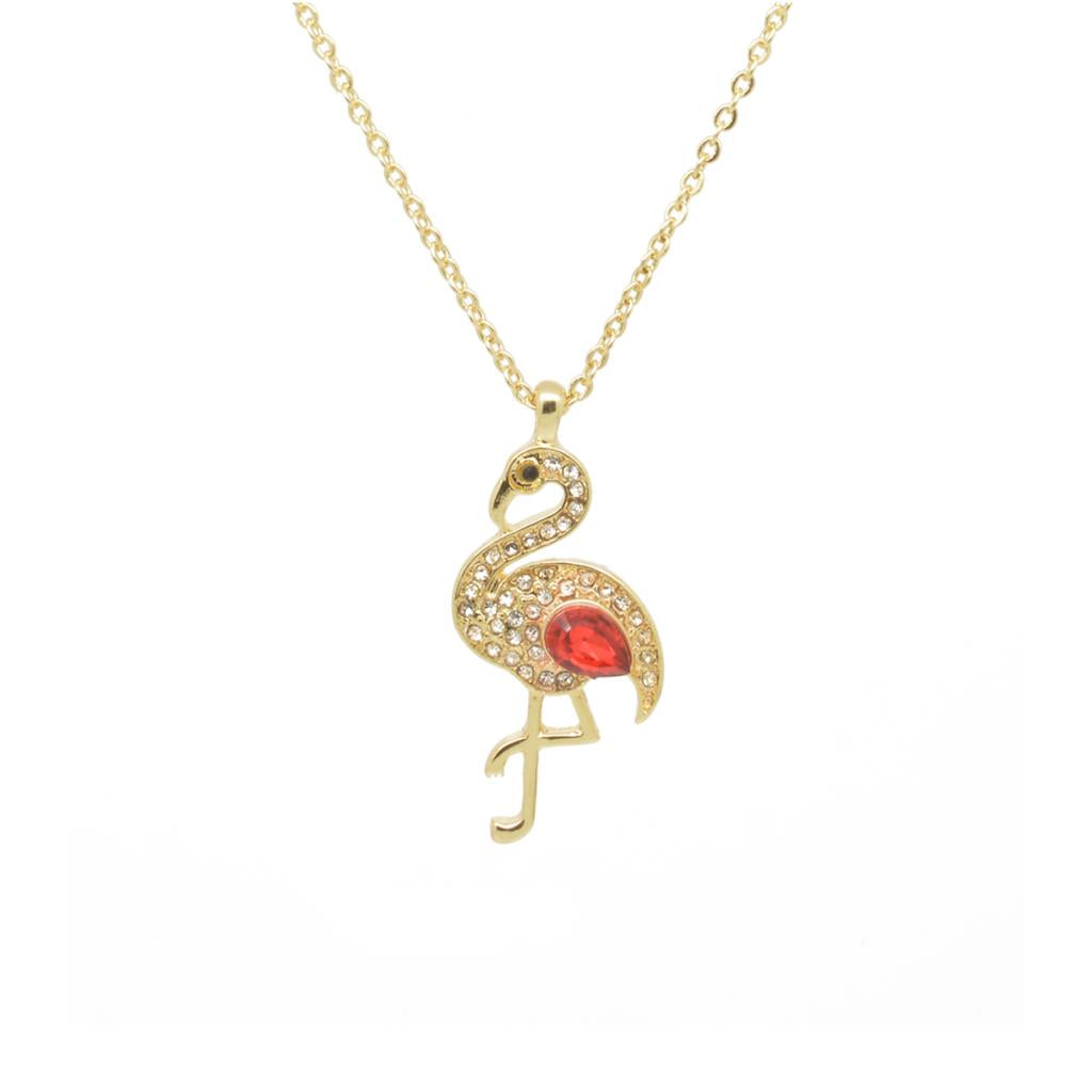 Crystal Red Flamingo gold Chain Necklace - Pretty Kitty Fashion