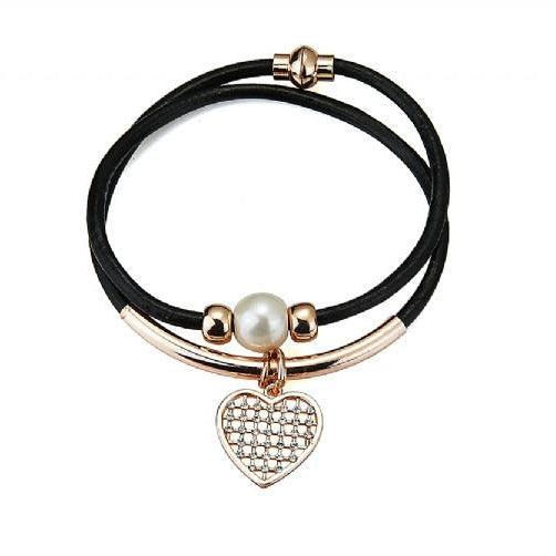Leather Faux Pearl Crystal Bracelet - Pretty Kitty Fashion