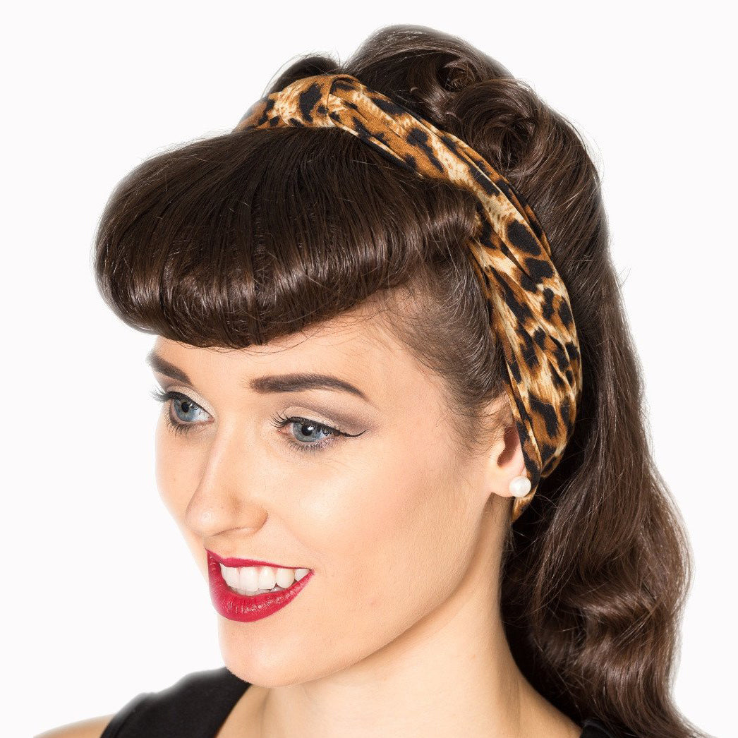 Leopard Print Vintage Headscarf - Pretty Kitty Fashion