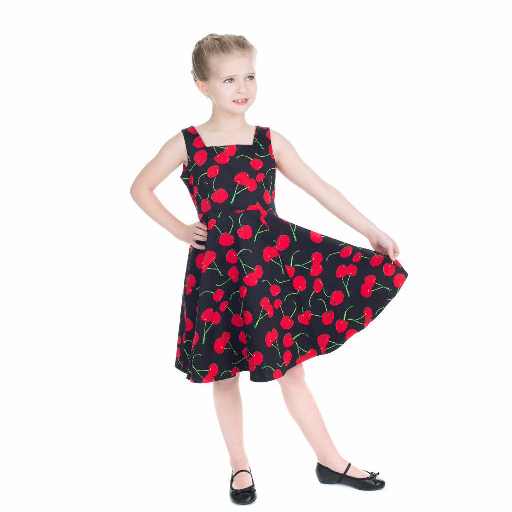 affordable price largest selection of shoes for cheap Little Kitty Girl's Black Red Cherry Party Dress
