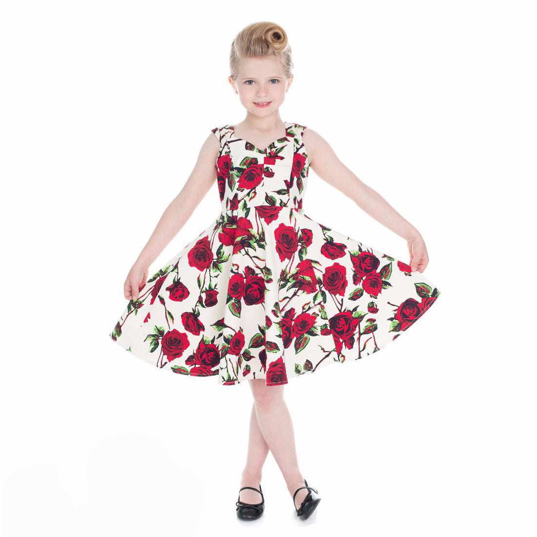 73ff06ec8543 Little Kitty Girl s Cream White Red Rose Floral Party Dress - Pretty Kitty  Fashion