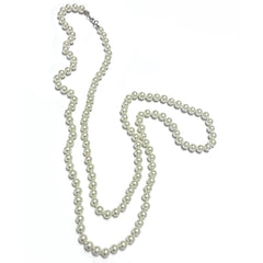 Long Ivory Faux Pearl Necklace