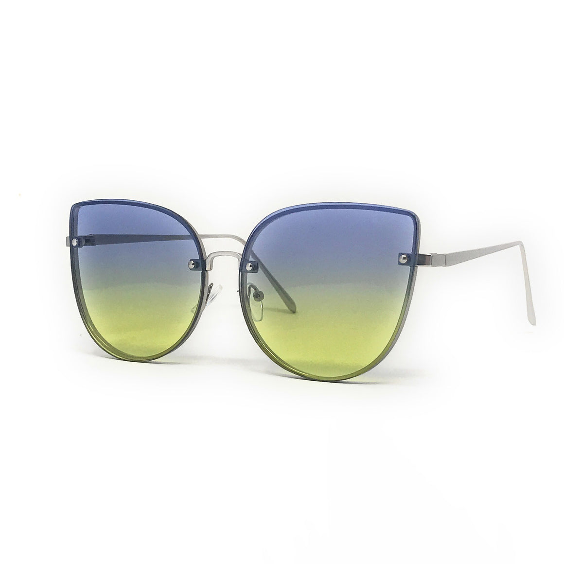 Vintage Blue Retro Cat Eye Metal Frame Sunglasses