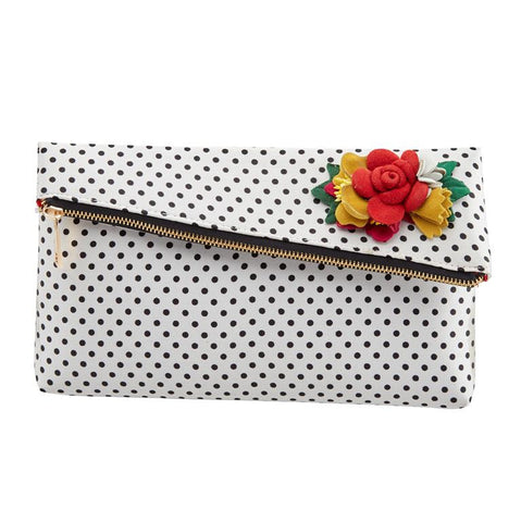 White Black Polka Dot Clutch Bag