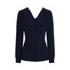 Navy Blue Long Sleeve V Neck Blouse Top