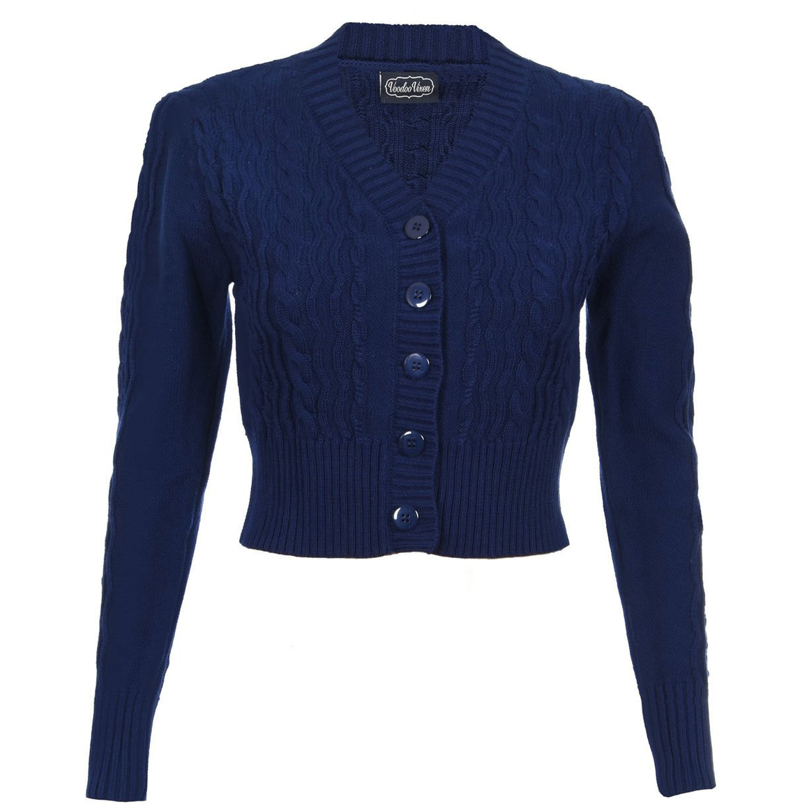 Navy Blue Cropped Vintage Knit Cardigan
