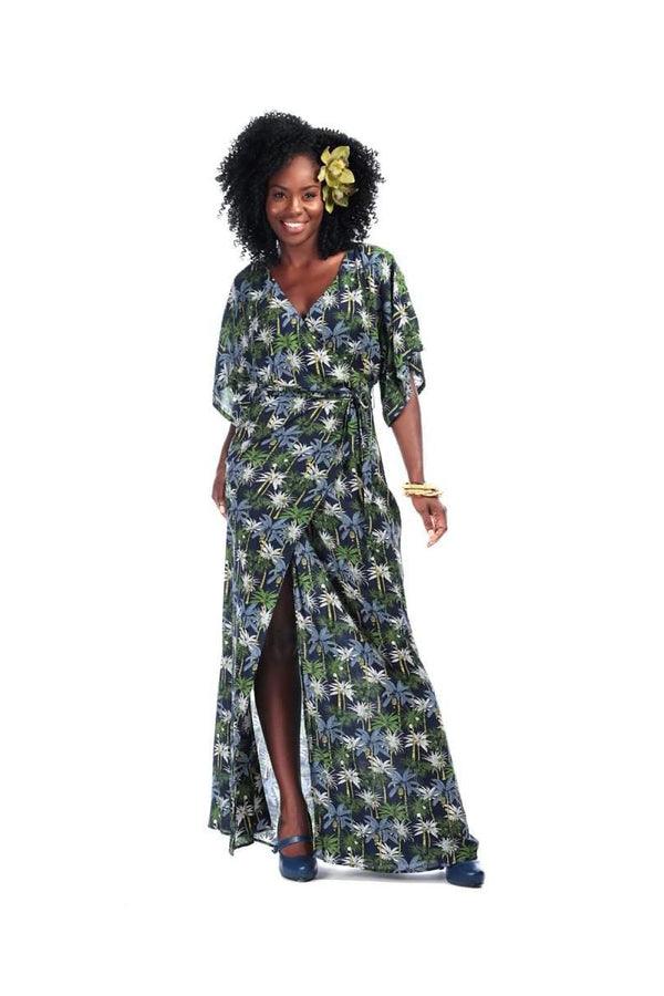 Navy Blue And Green Palm Tree Print Faux Wrap Maxi Dress