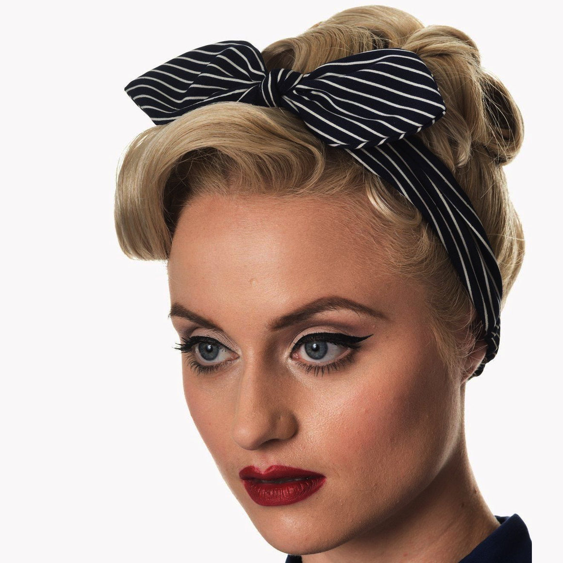 Black White Stripe Vintage Headscarf - Pretty Kitty Fashion