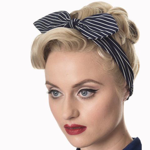 Navy White Stripe Vintage Headscarf