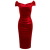 Red Velour Cap Sleeve Crossover Top Bardot Wiggle Dress - Pretty Kitty Fashion