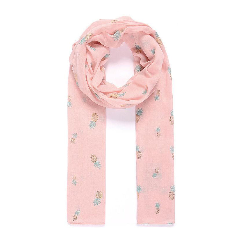 Pink Pineapple Print Scarf - Pretty Kitty Fashion