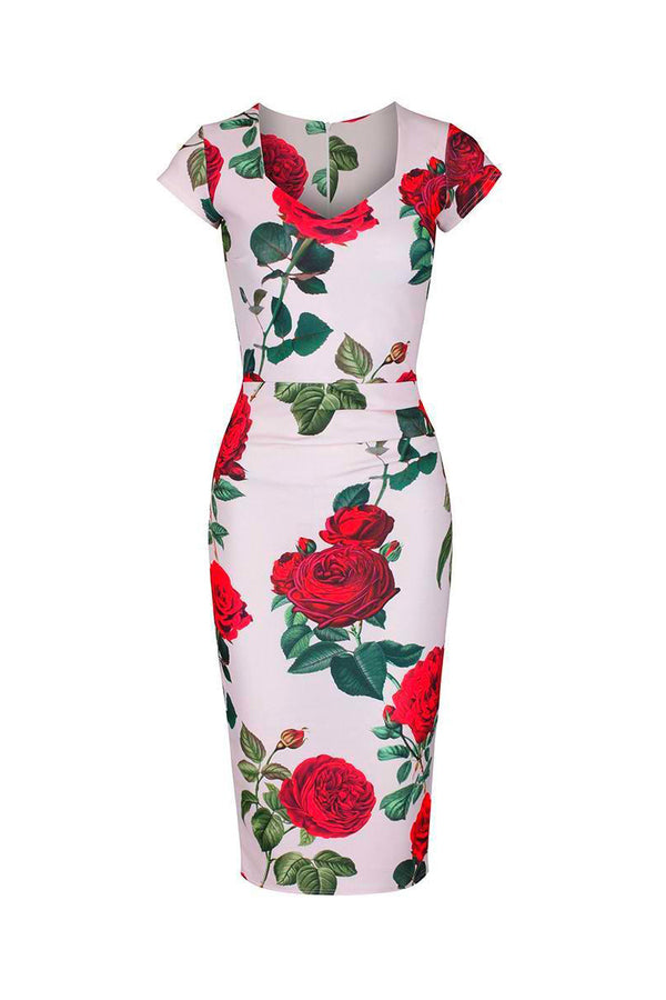 Pink And Red Rose Print Cap Sleeve 1940s Pin Up Bodycon