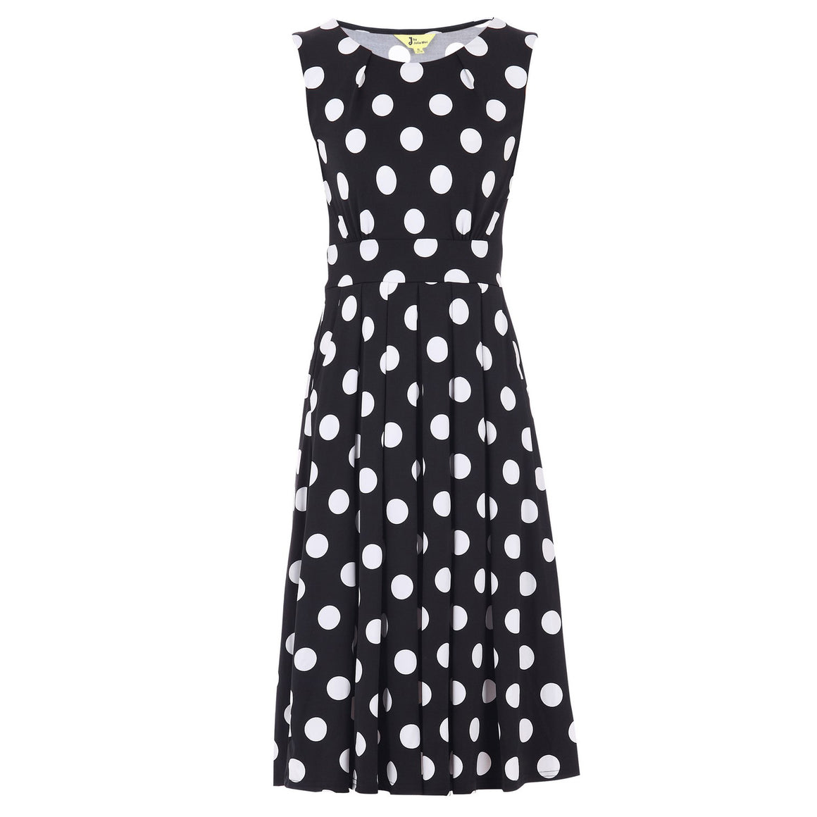 Jolie Moi Black And White Polka Dot Round Neck Midi Dress - Pretty Kitty Fashion