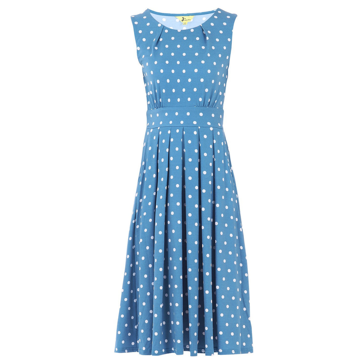 Jolie Moi Blue And White Polka Dot Round Neck Midi Dress - Pretty Kitty Fashion